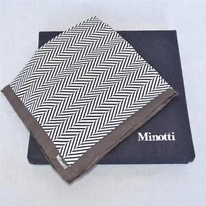 MINOTTI Black+White+Brown Herringbone SILK Pocket Square Italian Handkerchief