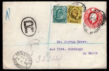 UK GB TO CHILE REGISTERED PS STATIONERY ENVELOPE 1903 NORWOODS - SANTIAGO