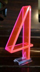 "Vintage Mid Century 1950's Retro Neon Orange Pink Fiber Optic Number 4 Four - 7"""