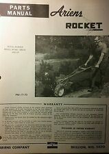 Ariens ROCKET Tiller Parts Manual 6pg  901001 s/n=000101 7hp Rear Tine 1973