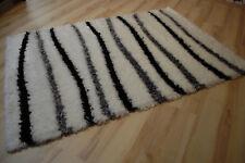 Tapis poil long ambato-shaggy creme-schwarz rayé 120x170cm