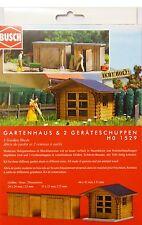 H0 BUSCH Gartenhaus & 2 Geräteschuppen Gartenschuppen Schuppen Echtholz # 1529