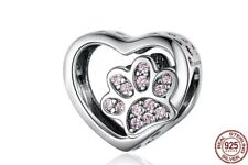 Cat Dog Paw Heart 925 Sterling Silver Charm + free gift bag