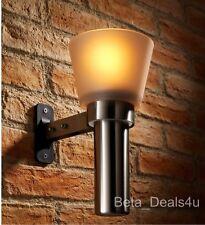 GARDEN WALL MOUNT UPRIGHT NIGHT LIGHT CHROME OIL LAMP LANTERN OUTDOOR PORCH QDO