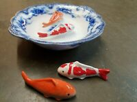 Chinosiorie porcelain Ceramic Floating Koi Fish Set 4 MultiColored Goldfish asia