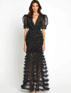BNWT ALICE MCCALL BLACK TOKYO SPLIT GOWN - SIZE 8 AU/4 US (RRP $750)