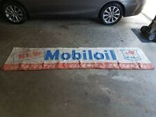 RARE Early Original mobil MOBILOIL Oil Gas Station cloth Banner Advertsing sign