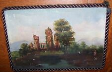 19c ANTIQUE CASTLE CATHEDRAL CHURCH OIL PAINTING VICTORIAN FOLK ART WOMAN