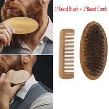 Mustache Care Wood Beard Comb Facial Shaving Boar Bristle Brush Beard Groomin&qi