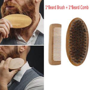 Mustache Care Wood Beard Comb Facial Shaving Boar Bristle Brush Beard Groomin^lk