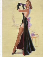"""PIN-UP BOOK PAGE BY ARTIST ART FRAHM  SEXY PINUP PURPLE PHONE """"MAYBE"""" SEXY LEGS"""