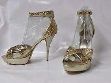 "Luichiny ""Doze"" gold glitter hi-heel platform sandals - Size 11, 5"" heel - New"
