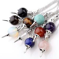 1x Chakra Bead Pendulum Divination Natural Gemstone Round Ball Pendant Jewelry