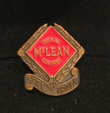 """Vtg '70's McLean Trucking Co Screw Back Pin Safe Driver 3/4"""" Bronzed Metal Yr21"""