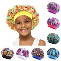 Kids Silk Satin Night Sleep Caps Hair Care Bonnet Hats Headwear Nightcap Wrap