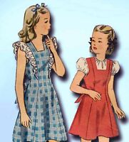 1940s Vintage Simplicity Sewing Pattern 4896 WWII Girls Dress or Jumper Size 10