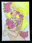 Original ACEO Flower Garden Goddess Medium Ink Marker on Paper Signed By Artist