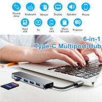 6 in 1 USB-C Type C HD Output 4K HDMI USB 3.0 Adapter HUB MacBook iPad Pro