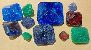 Square Cut Fusion Glass Gemstones Jewellery making, Dungeons and Dragons, D&D