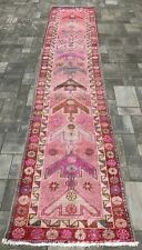 "Turkish Wool Runner, Vintage Hand Knotted Soft Pile 12'7""x 2'7"" Free Shipping!"