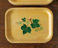 Lot Vintage MCM SILVA Woodcroftery Hand Painted Teak Wood Serving Tray Sweden