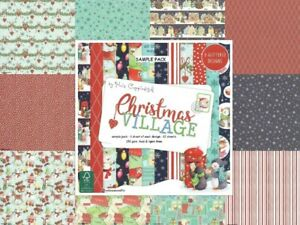 DOVECRAFT CHRISTMAS VILLAGE 8 x 8 Glitter Paper Sample Pack 150 gsm - 12 Sheets