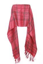 Red & Black Fine Knit Thick Tassels Light Long Woman's Autumn Winter Scarf (S81)