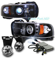 94-01 DODGE RAM HALO LED BLACK PROJECTOR HEADLIGHT W/BUMPER FOG LAMP+8K HID 3500