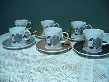 WEDGWOOD SUSIE COPPER COFFEE SET - 12PC - FLORAL WITH HARLEQUIN SAUCERS - GC