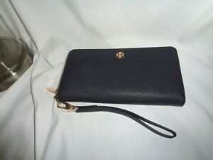 Tory Burch Emerson Wristlet Zip Continental Wallet Navy Saffiano Leather