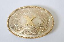 New Montana Silversmiths Western Belt Buckle Silver Plate Letter X Roped Edge