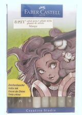 Faber-Castell 8 PITT Artist Pens Manga Set 167107T Tips- Brush , Small & Medium