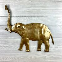 Vintage Large Brass Elephant Wall Sculpture 23x21.5