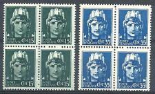 Italy 1929 Sc# 216a # 220a Italia 15c & 35c no watermarks blocks 4 MNH