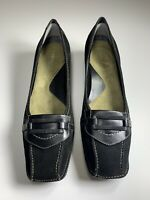 Whats What By Aerosoles Black Leather Low Heels Pumps Shoes Women's Size 8.5 M