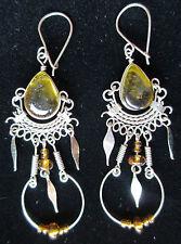 Boucles D'oreilles Alpaga Argent ambre couleurs Perles en verre Indien Inca Maya
