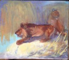 León Pareja Pintura Al Óleo Antiguo Fina Pintura Tiermaler Expresionista Um 1940
