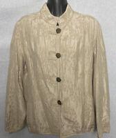 Chico's Womens Jacket Size 2 Beige Button Up Embroidered Blazer Large Silk Blend