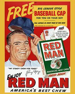 Red Man Chewing Tobacco Ad Poster Featuring Johnny Mize - Yankees, 8x10 Photo