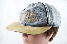 Bourbon Street New Orleans Adjustable Hat Leather Bill Denim Hat VINTAGE 80's