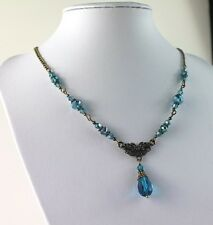 AB Peacock Blue or GREEN AB Crystal Vintage  Necklace Earring Set Steampunk