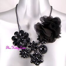 Black Fabric Floral Flower Deco Vintage Hollywood Red Carpet Prom Bib Necklace