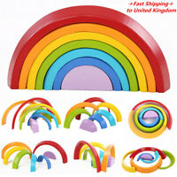 7 Colors Wooden Stacking Rainbow Shape Child Kids Educational Toy Christma
