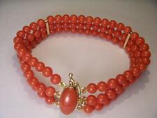 Fabulous Estate 18K Yellow Gold Designer Red Undyed Coral Three-Strand Bracelet