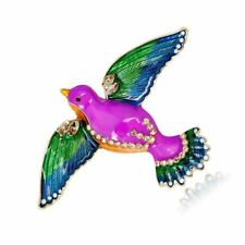 Gorgeous Gold Plated Pink Green Blue White Enamel Crystal Bird Brooch