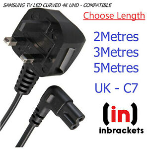 C7 FIGURE 8 FOR Samsung TV Mains Power Lead Cable SKY Q SONY UK RIGHT ANGLE
