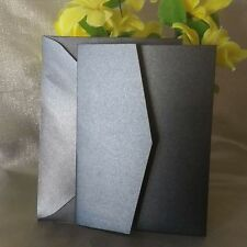DIY Black Pocket Fold Wedding Invitation Cards & Envelope Capped Postage