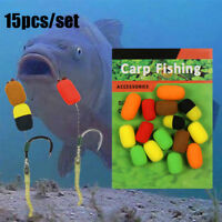 15pcs/pack Cylinder Carp Fishing Bait Foam Boilie Ups Fish Baits Lures Hook