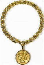 Janus Charm Bracelet - 24K Goldplated Janus Symbol Charm on Goldplated Bracelet
