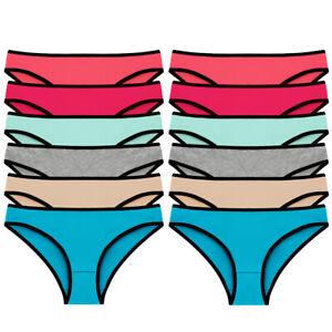 12 Pack Womens Cotton Briefs Underwear Seamless Panties Bikini Knickers Sz 6-16